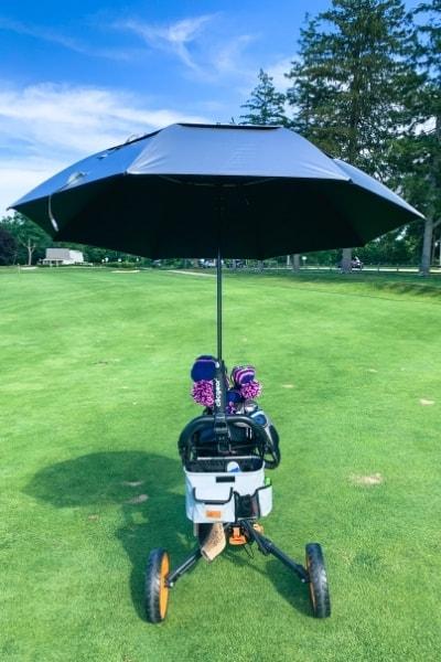 Golf Umbrella With Pushcart Attachment