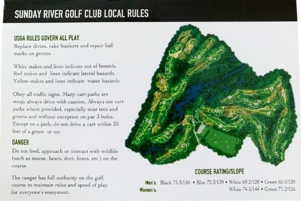 Sunday River Golf Club Slope Rating & Local Rules